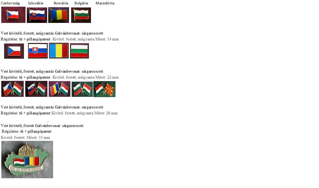 Országok zászlói kitűzők