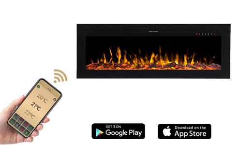 A DIANA elektromos kandalló mobil applikáció segítségével vezérelhető