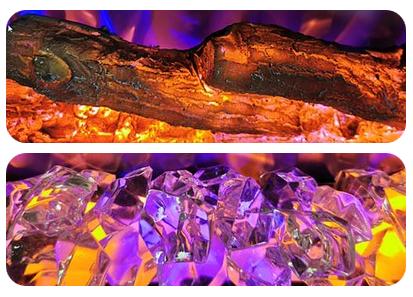 Kétféle parázsággyal kapható - rönk, kristály, kavics