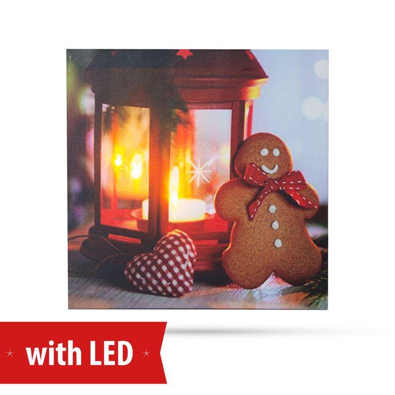 Karácsonyi LED-es hangulat kép - mézeskalács - fali akasztóval